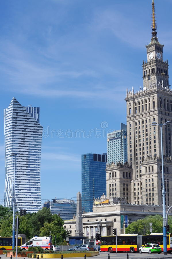 """Warsaw's Palace of Culture and Science and new """"Zlota 44"""" residential skyscraper stock photo"""