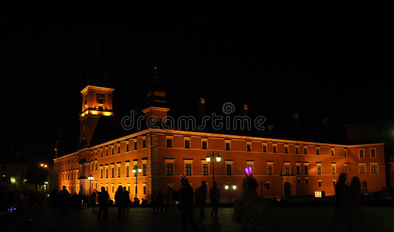 Warsaw August 20,2014- Historic building by night from Warsaw in Poland stock image