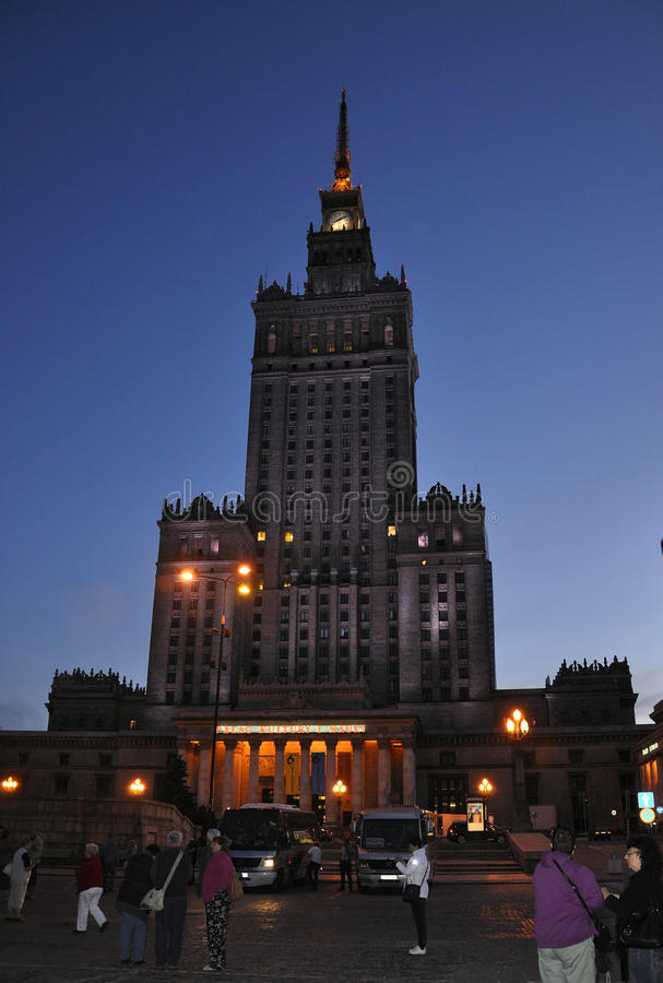 Warsaw August 20,2014- Palace of Culture and Science by night from Warsaw in Poland stock photography