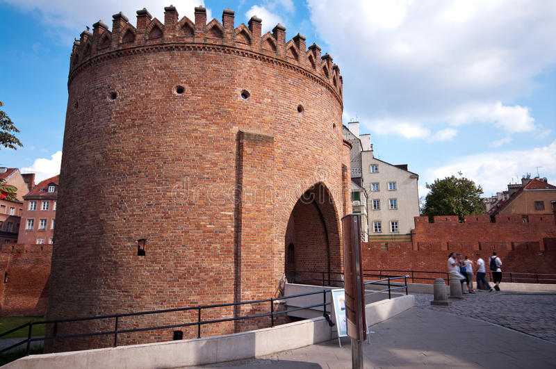 Warsaw Barbican, Poland. The Warsaw barbican is a semicircular fortified outpost in Warsaw, Poland, and a relic of the historic fortifications that once royalty free stock photos