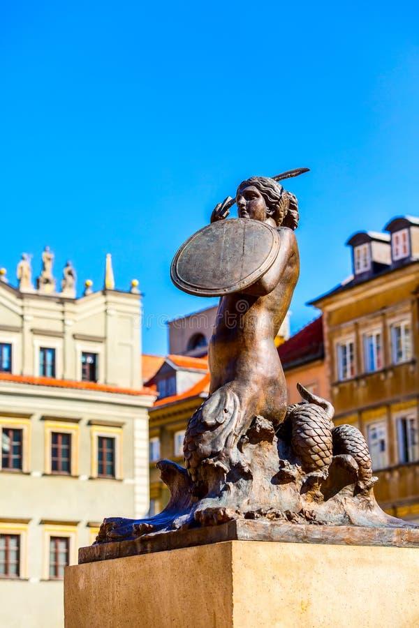 Mermaid Statue, symbol of Warsaw, Poland stock photos
