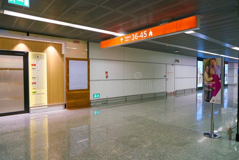 Warsaw Chopin Airport. WARSAW, POLAND - CIRCA NOVEMBER, 2017: inside Warsaw Chopin Airport stock photography