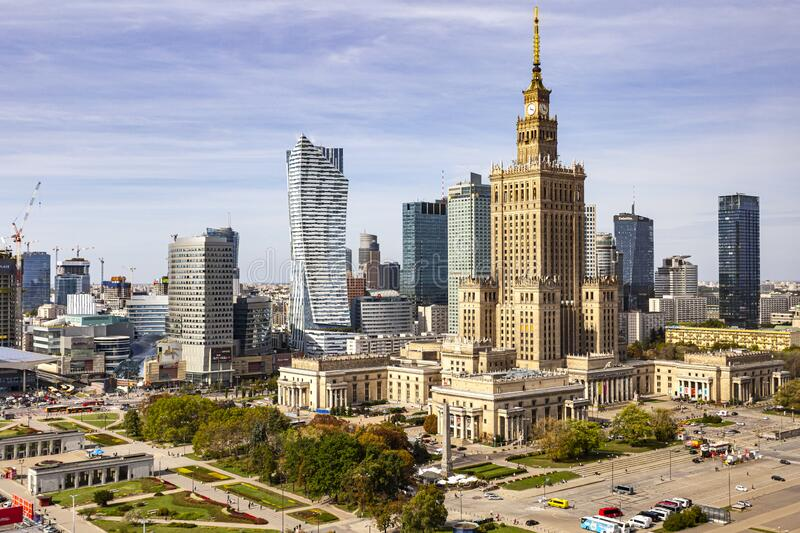 Warsaw city center in Poland with Palace of culture and science. royalty free stock photo