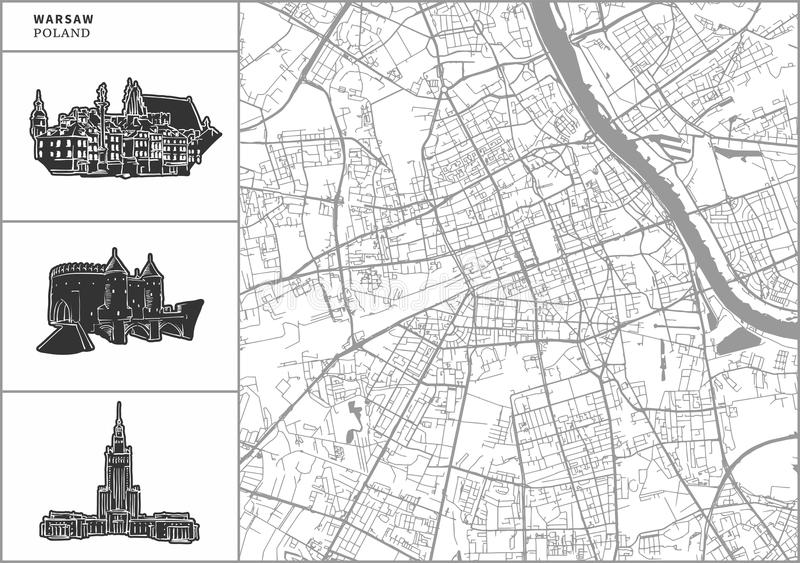 Warsaw city map with hand-drawn architecture icons vector illustration