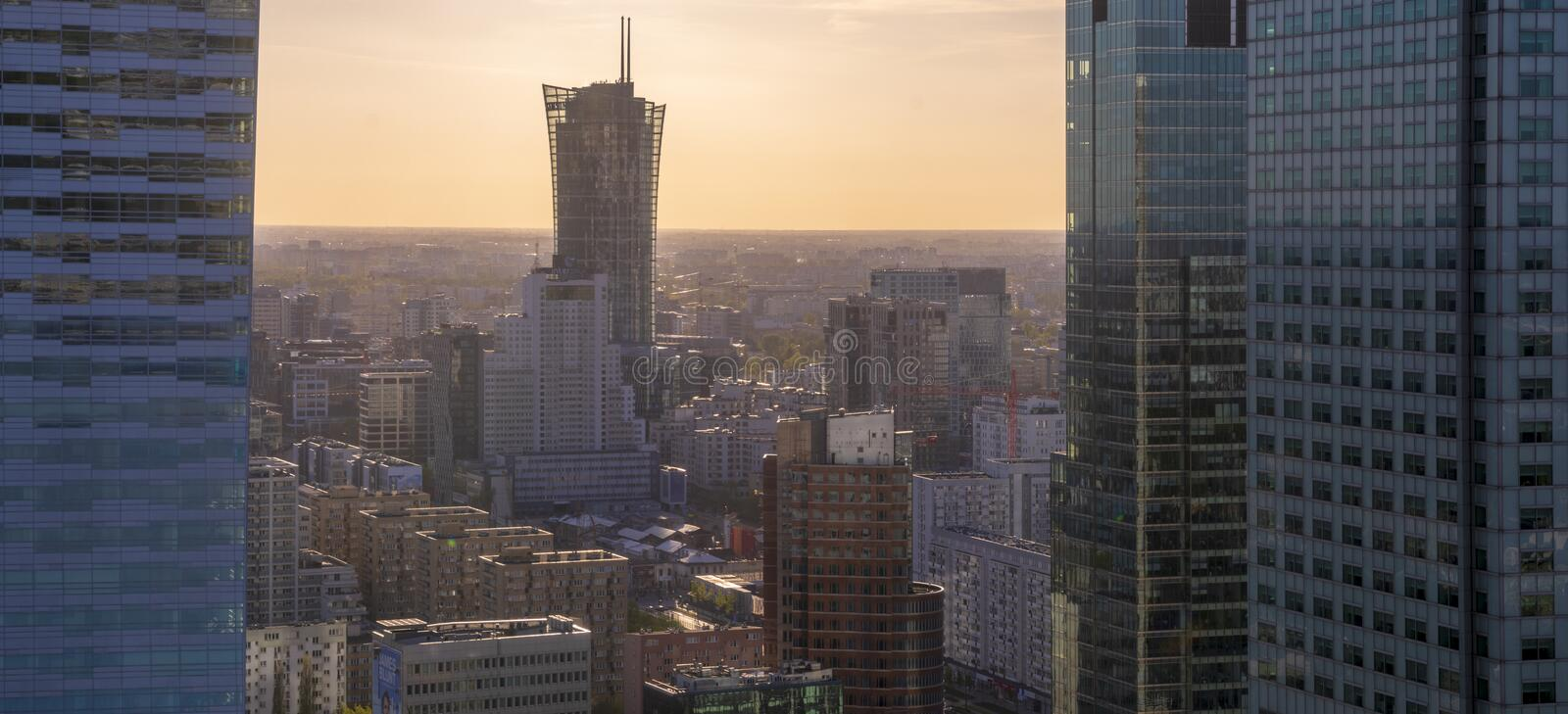 Warsaw city with modern skyscraper Poland royalty free stock images