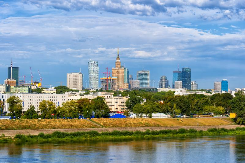 Warsaw City Skyline River View In Poland stock images