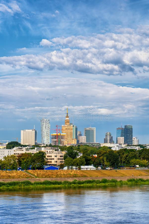 Warsaw City Skyline River View stock images