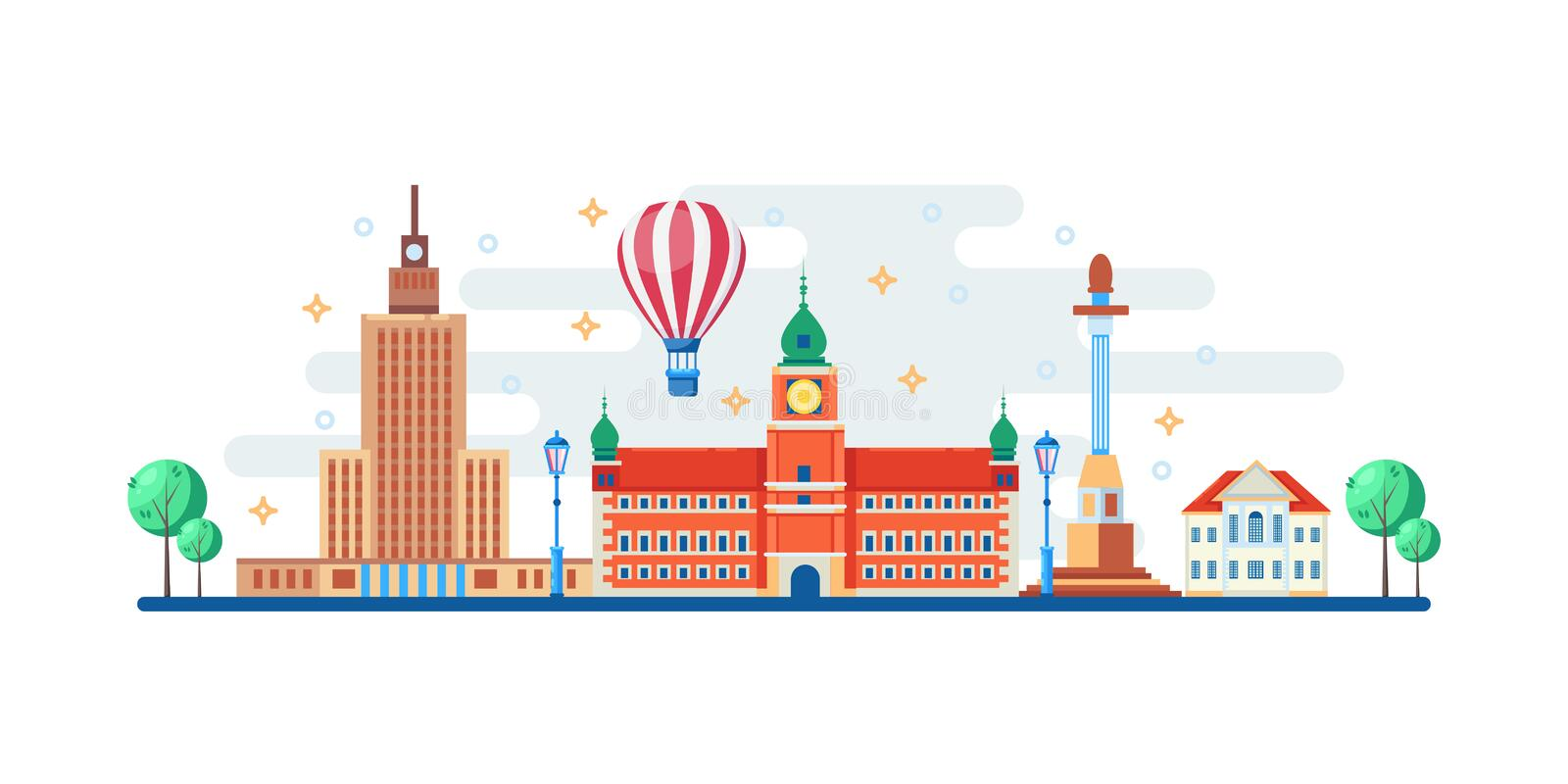 Warsaw cityscape with famous touristic landmarks. Vector flat illustration. Travel to Poland horizontal banner design vector illustration