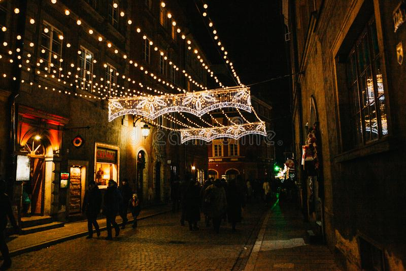 Street night decorations on the streets at Christmas in Warsaw. stock image