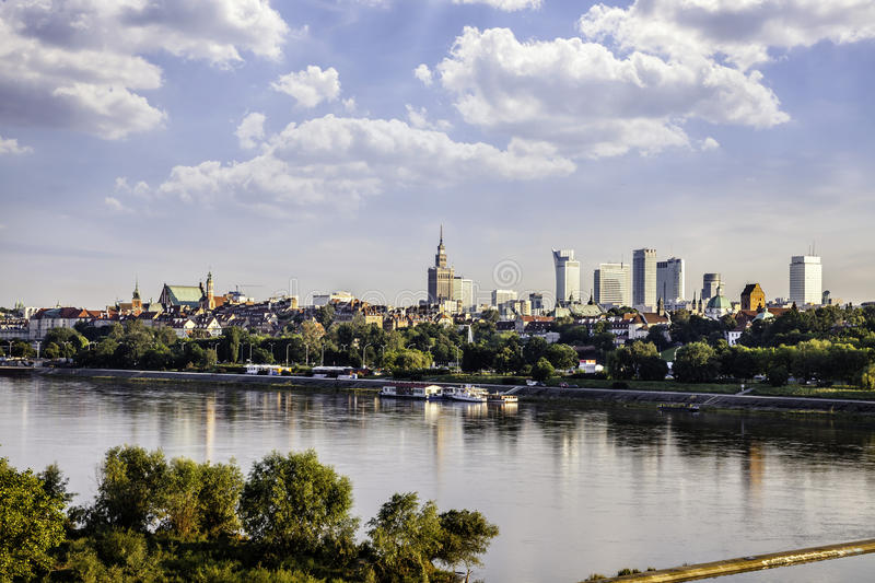 Warsaw downtown at afternoon. Sun. View from the river stock photos