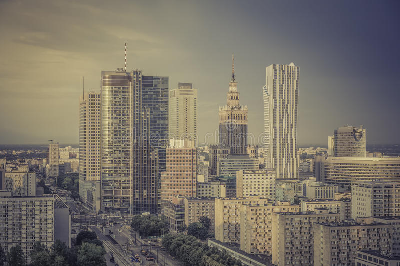 Warsaw financial center in late afternoon royalty free stock photos