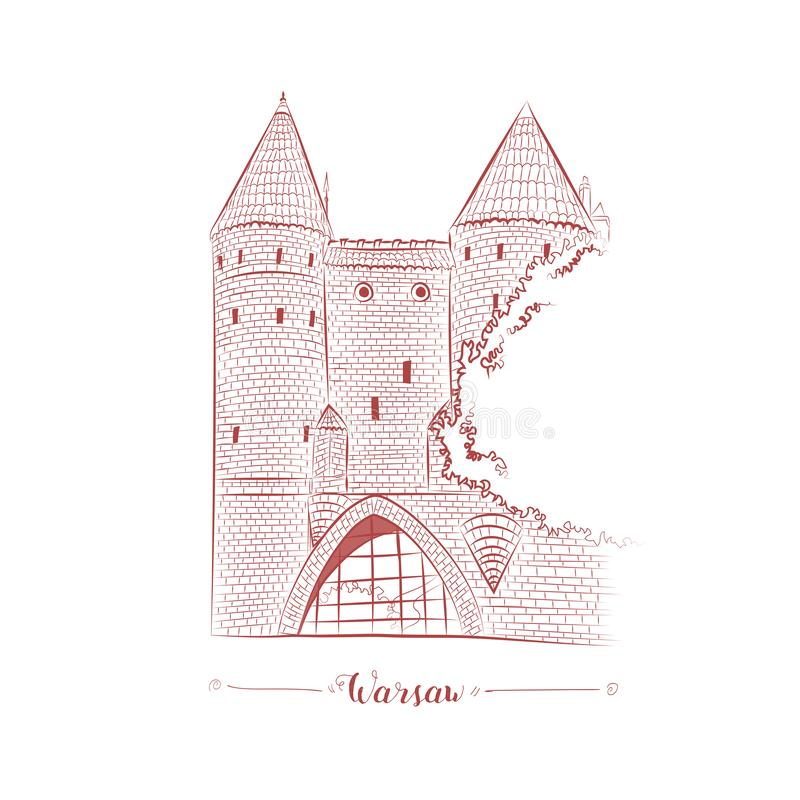 Warsaw fortress in old town hand drawn sketch. European brick castle in Warsaw old town vector royalty free illustration