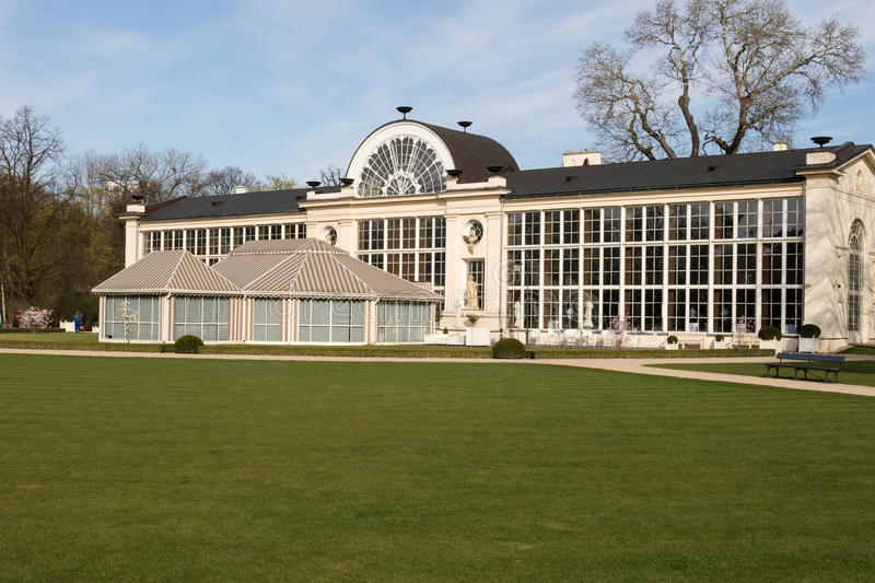 Warsaw.Lazienki Royal park.Old and new Orangery. royalty free stock photos