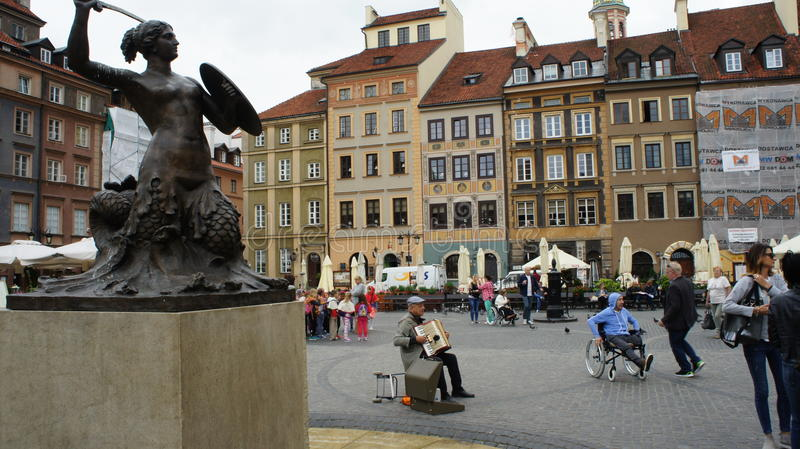 Warsaw Mermaid Statue stock photo