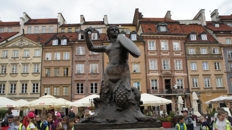 Warsaw Mermaid Statue royalty free stock images