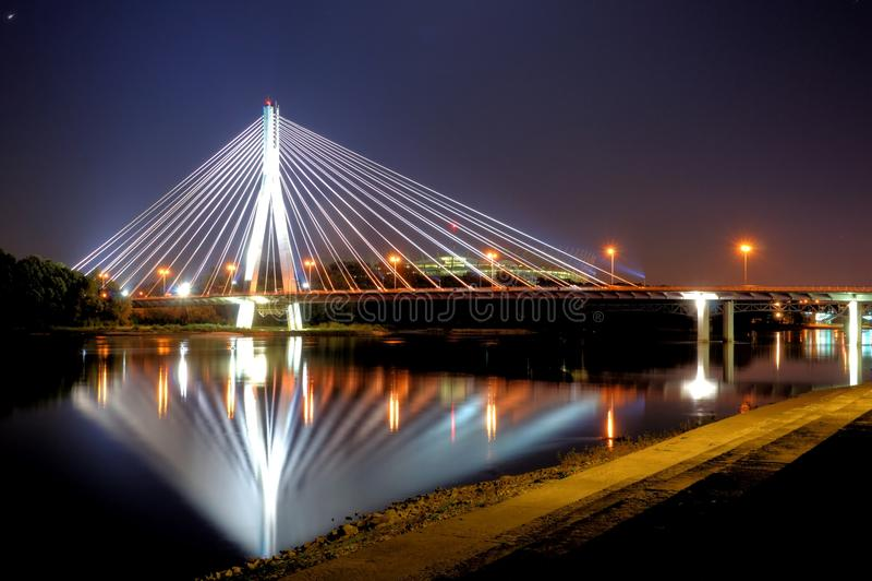 Warsaw at night royalty free stock photos