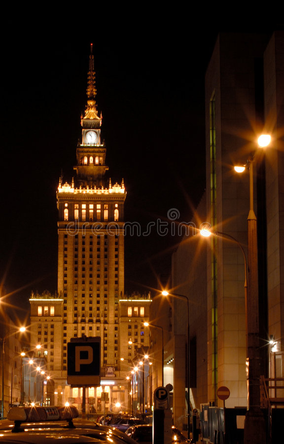 Warsaw by night1 stock images