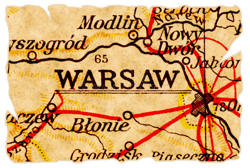 Warsaw Old Map Royalty Free Stock Photo