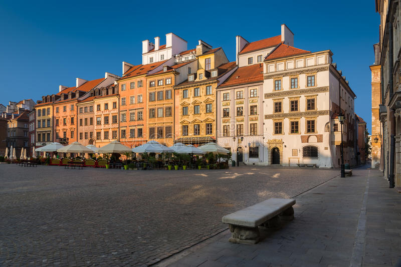 Warsaw Old Town Market Place. On a sunny morning royalty free stock photos