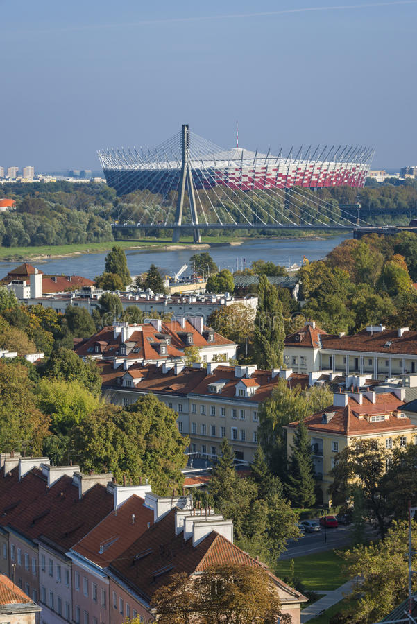 Warsaw Old Town panorama, Poland. Warsaw Old Town panorama with National Stadium, Poland royalty free stock images