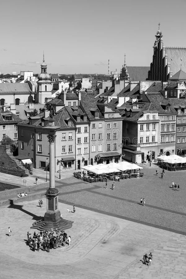 Warsaw, Poland – July 21 2016: Warsaw`s Zamkowy Square is a hi. Storic square in front of the Royal Castle Warsaw, Poland stock photo