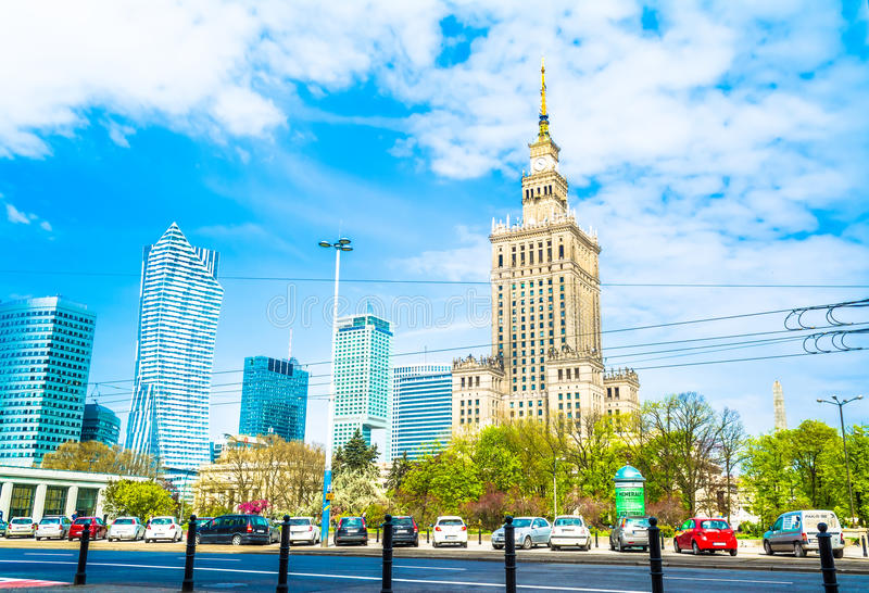 Warsaw, Poland – May 06, 2017: Panorama of Warsaw with modern skyscrapers on a sunny day stock photos