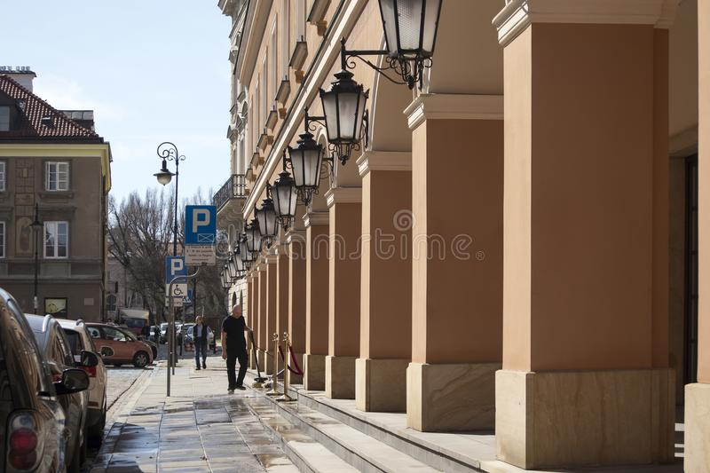 Late-Renaissance style burgher houses which were rebuilt after the Second World War and now form the UNESCO World Heritage Site Ol. WARSAW, POLAND - APRIL 28 stock photos