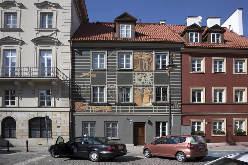 Late-Renaissance style burgher houses which were rebuilt after the Second World War and now form the UNESCO World Heritage Site Ol. WARSAW, POLAND - APRIL 28 royalty free stock photography