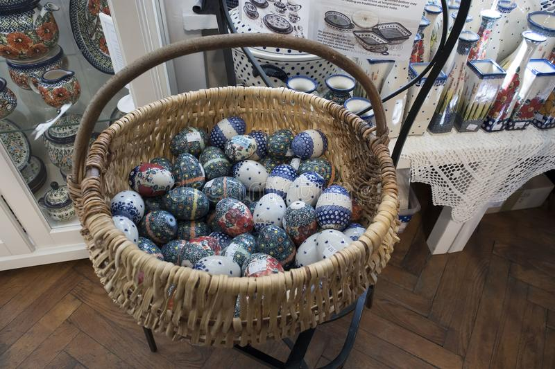 Easter showcases in the old town, decorated with eggs, souvenirs and willows royalty free stock image