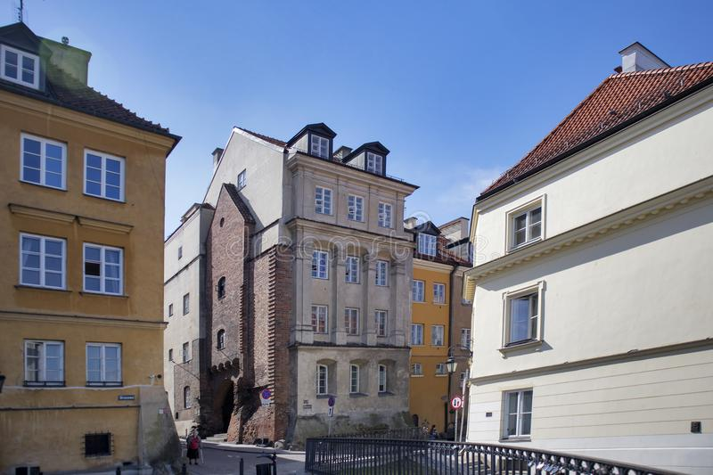Late-Renaissance style burgher houses which were rebuilt after the Second World War and now form the UNESCO World Heritage Site Ol. WARSAW, POLAND - APRIL 28 stock image
