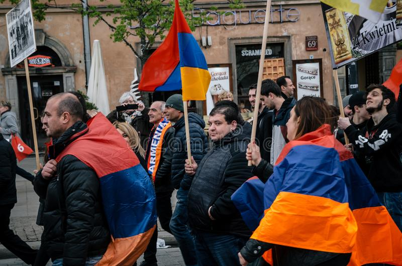 March of Armenian Community anniversary of Armenian Genocide. Warsaw, Poland - April 24, 2017: March of Armenian Community anniversary of Armenian Genocide of royalty free stock image