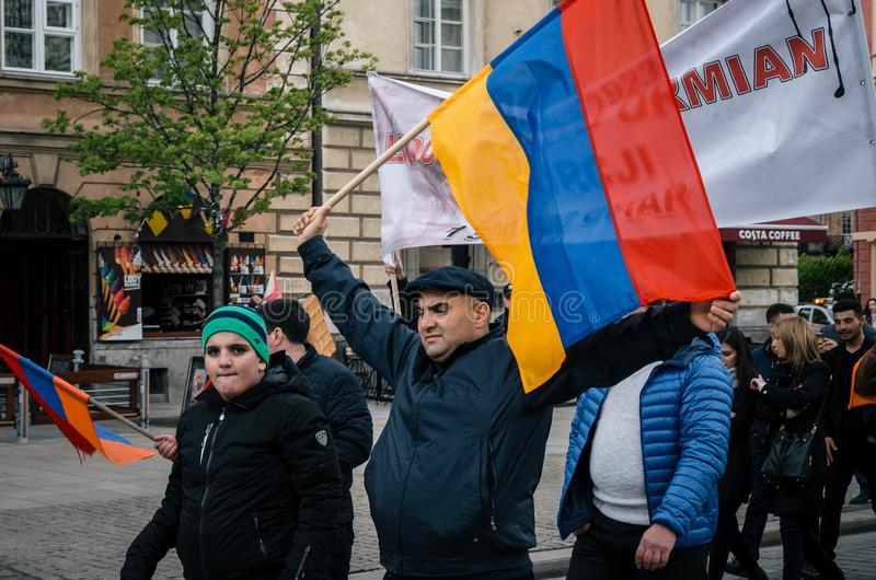 March of Armenian Community anniversary of Armenian Genocide. Warsaw, Poland - April 24, 2017: March of Armenian Community anniversary of Armenian Genocide of royalty free stock photos