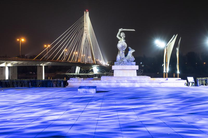 The mermaid statue in warsaw royalty free stock images