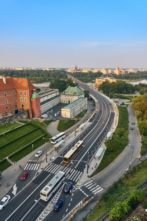 Warsaw, Poland - August 11, 2017: Beautiful panoramic view from old town of the route W-Z, Warsaw, Poland royalty free stock image