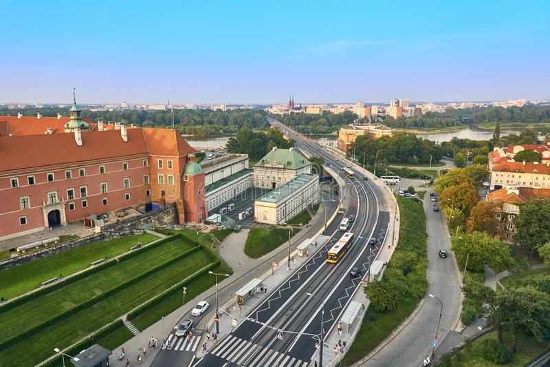 Warsaw, Poland - August 11, 2017: Beautiful panoramic view from old town of the route W-Z, Warsaw, Poland stock image