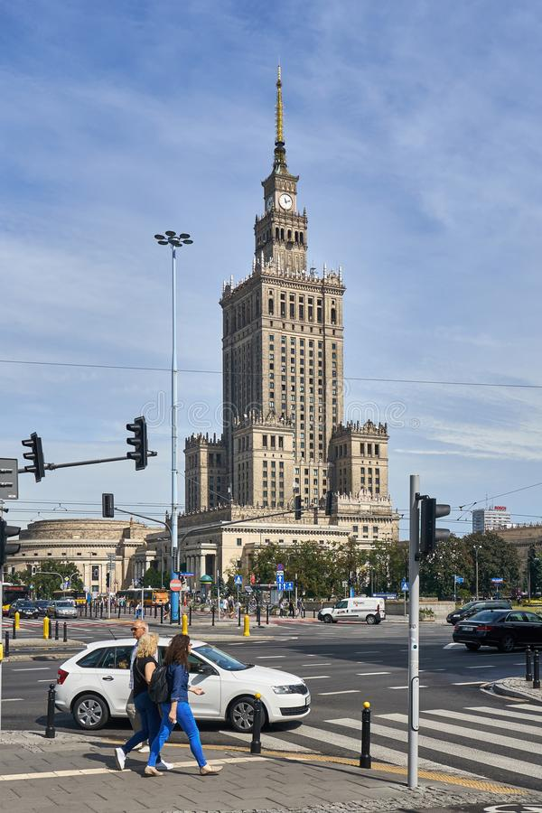Warsaw, Poland - August 11, 2017: City center with Palace of Culture and Science (PKiN), a landmark and symbol of Stalinism and stock photography