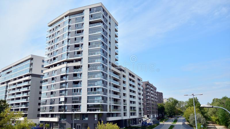 Dantex - Housing estate near Arkadia. Modern apartment building. royalty free stock photos