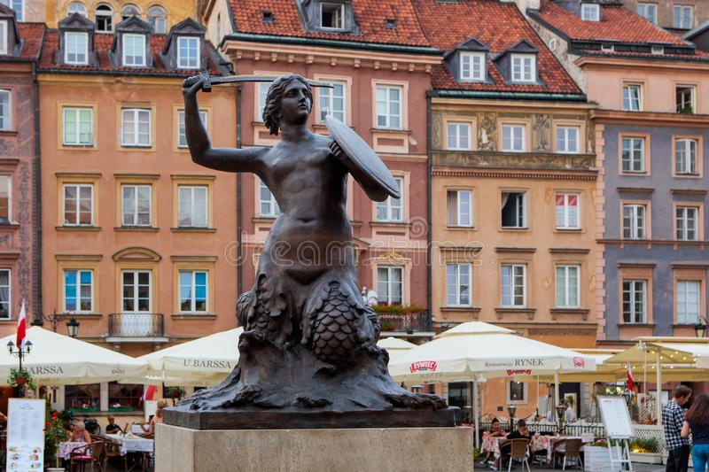 Statue of mermaid in Warsaw, Poland stock photo