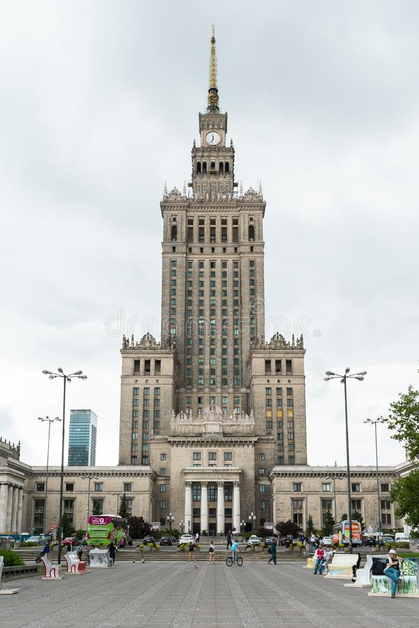 Warsaw, Poland/Europe; 11/07/2019: Palace of Culture and Science PKIN from below, Warsaw stock image