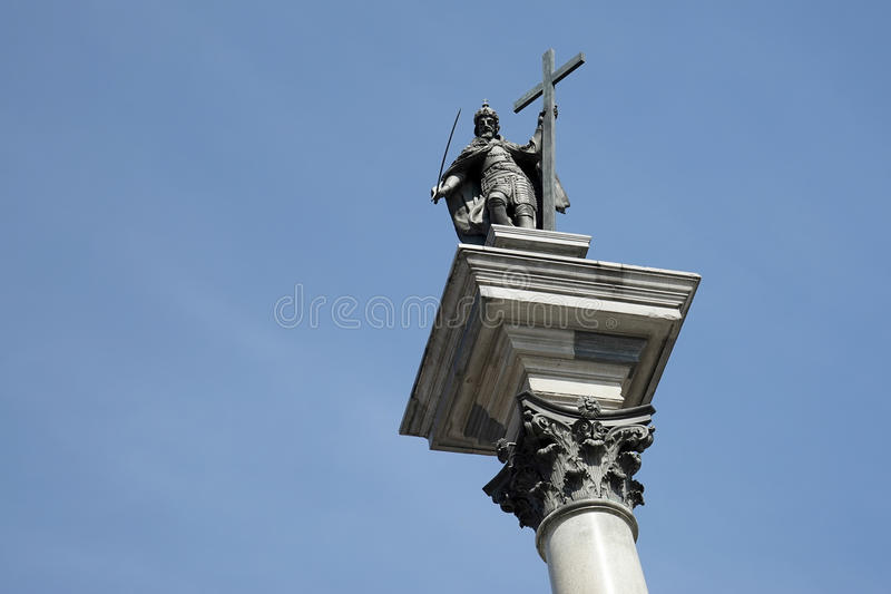 WARSAW, POLAND/EUROPE - SEPTEMBER 17 : Zygmunts Column in the Old Town Market Square in Warsaw Poland on September 17, 2014 stock image
