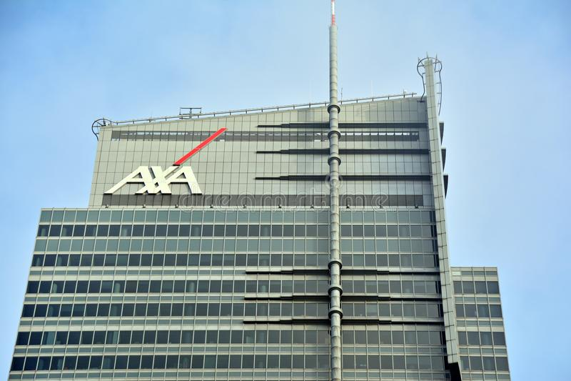 Axa sign neon. WTT Tower. Warsaw, Poland. 3 February 2018. Axa sign neon WTT Tower stock images
