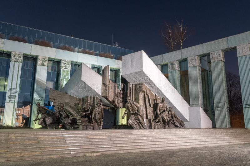 Night view of the main section of Warsaw Uprising Monument stock images