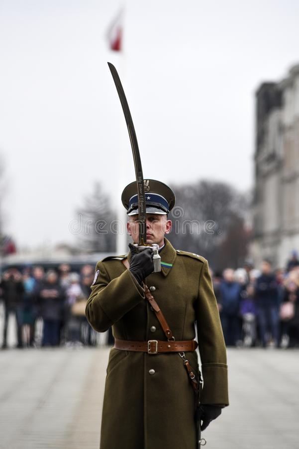 Warsaw, Poland, 17  february 2019: Polish soldiers during the changing of the guard at the grave of an unknown soldier stock photos