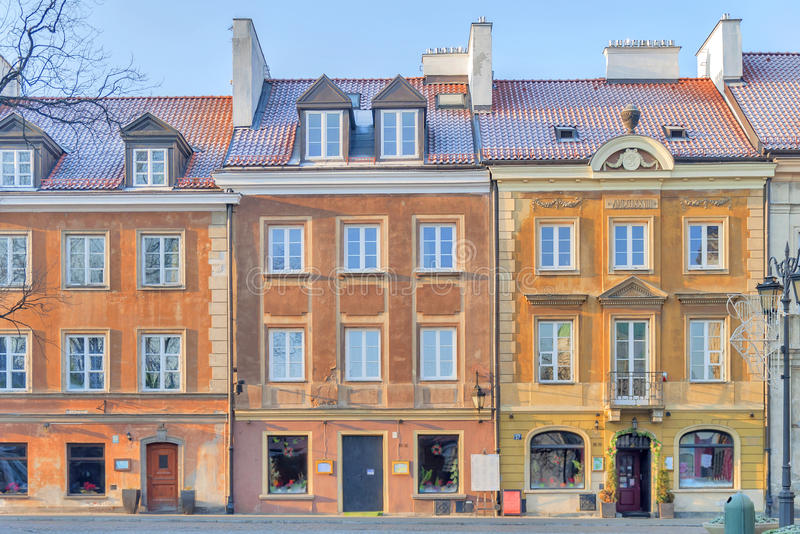 WARSAW, POLAND - JANUARY 04, 2016 beautiful colorful building on sunny day in old town Warsaw. Close stock photos