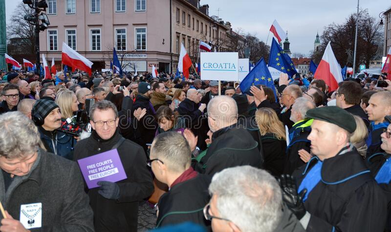 March of 1000 Gowns. Judges and lawyers from across Europe protest judicial takeover in Warsaw. stock images