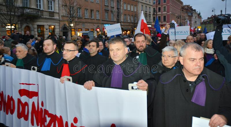 March of 1000 Gowns. Judges and lawyers from across Europe protest judicial takeover in Warsaw. royalty free stock photos