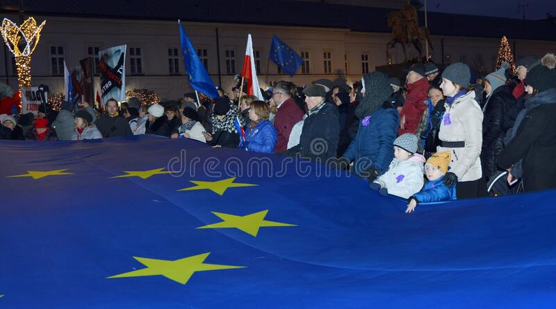 March of 1000 Gowns. Judges and lawyers from across Europe protest judicial takeover in Warsaw. stock photography
