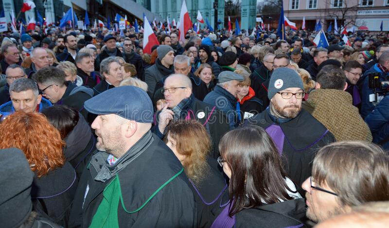 March of 1000 Gowns. Judges and lawyers from across Europe protest judicial takeover in Warsaw. stock photo