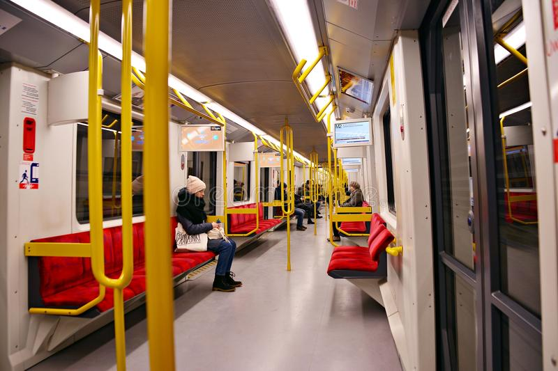 Metro train interior, Subway train interior. Warsaw, Poland. 13 January 2018 Metro train interior stock images