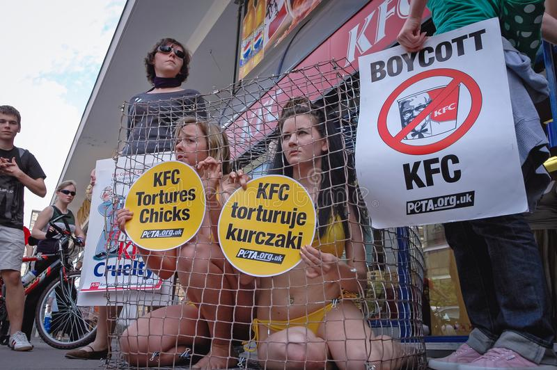 Protest against KFC stock photo